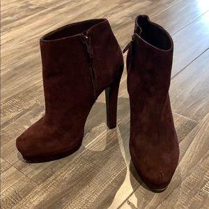 "ASH ""Chloe"" Burgundy Suede Ankle Bootie"